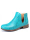 Women Comfy Round Toe Slip On Block Heel Ankle Boots - Blue