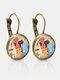 Bronze Glass Round Mixed-Color Cat Print Women Pendant Earrings - Bronze