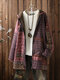 Vintage Print Fleece Hooded Plus Size Coat with Pockets - Red