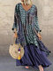 Vintage Floral Print Patchwork Long Sleeve Dress with Pockets - Navy