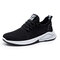 Men Sport Knitted Fabric Breathable Walking Sneakers Casual Shoes - Black
