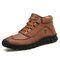 Menico Men Microfiber Leather Hand Stitching Casual Ankle Boots - Red Brown