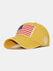 Men Washed Cotton Embroidery Baseball Cap Outdoor Sunshade Adjustable Hats - Yellow