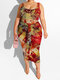 Tie Dye Tank Top & Knotted Bodycon Skirt Plus Size Suit - Red#2