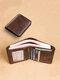 Ferricos RFID Portefeuille trois Volets Cuir Véritable avec Capacité Large pour Homme - café