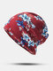 Women Dual-use Cotton Floral Pattern Overlay Brimless Beanie Hat Scarf - Red