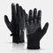 Unisex Fleece Screen Touchable Waterproof Winter Outdoor Keep Warm Waterproof Cycling Riding Full-finger Gloves - Black