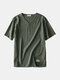 Mens Basic Solid Color Buttons Decoration Breathable Short Sleeve T-shirt - Army Green