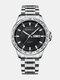 Alloy Steel Band Luminous Business Waterproof Quartz Watch Mens Watch - Black+Silver
