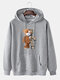 Mens Cartoon Bear Graphic Cotton Drawstring Hoodies With Pouch Pocket - Gray