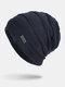 Men Winter Plus Velvet Striped Pattern Outdoor Knitted Warm Beanie Hat - Navy