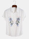 Designer Mens 100% Cotton Breathable Embroidered Floral Casual Short Sleeve Shirts - White