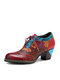 Socofy Retro Floral Print  Ethnic Patchwork Genuine Leather Lace Up Side Zipper Comfy Soft Chunky Heel Pumps - Red