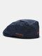 पुरुषों और महिलाओं के कपास विरोधी पहनने शैली पत्र कढ़ाई व्यक्तित्व फ्लैट टोपी बेरेट टोपी आगे टोपी - नौसेना