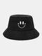 Femmes et hommes sourire motif de broderie chapeau de seau de parasol décontracté en plein air all-match - Noir