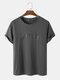Mens 100% Cotton Letter Graphics Casual Short Sleeve T-Shirt - Dark Gray