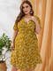 Floral Print Knotted Plus Size Holiday Dress for Women - Yellow