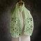 Women Solid Color Printing Pattern  Linen Long Scarf Shawl  Multi-Purpose  Elegant Neck Wrap - Green