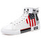 Men High Top Stylish Letter Pattern Comfy Breathable Canvas Sneakers - White
