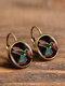 Vintage Glass Gem Dangle Women Earrings Animal Insect Cats Birds Pattern Earrings - #04