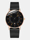 Colored Pointer Men Business Watch Alloy Mesh Band Calendar Quartz Watch - Black Band Black Surface Rose Go