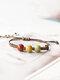 Vintage Ethnic Geometric-shape Beaded Braided Ceramics Wax Rope Bracelets - #02