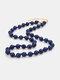 Ethnic Semi-precious Stone Beaded Adjustable Thick Round Bead Necklace - #07