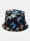 Women & Men Double-Sided Colorful Butterflies Pattern Outdoor Casual Sunshade Bucket Hat - Black