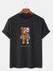 Mens 100% Cotton Bear Graphics Short Sleeve T-Shirt - Black
