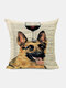 Animal Head Wine Glass Pattern Linen Cushion Cover Home Sofa Art Decor Throw Pillowcase - #12