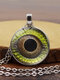Vintage Alloy Glass Printed Women Necklaces Crocodile Eyes Pendant Sweater Chain - #12