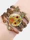 Vintage Painting Crystal Bracelet Hand-Woven Butterfly Infinity Symbol Men Women Multi-Layer Leather Bracelet - #12