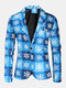 Mens Ugly Cartoon Christmas Element Print Single-Breasted Party Funny Blazer - Blue