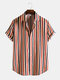 Mens Colorful Stripe Button Up Lapel Short Sleeve Curved Hem Shirt - Red