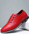 Men Plaid Leather Lace Up Business Casual Shoes - Red