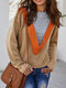 Fake Two Patchwork Long Sleeve Ribbed Sweater - Camel