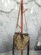 Tassel Decor Faux Fur Sun Flower Exquisite Print Pattern Lattice Bucket Bag Shoulder Bag - 4