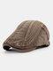 Men Cotton Embroidery Cap Outdoor Leisure Wild Forward Hat Flat Cap - Coffee