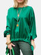 Solid Color Knotted Hem O-neck Long Sleeve Casual Blouse For Women - Green
