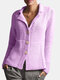 Solid Color Button Long Sleeve Casual Cardigan For Women - Purple