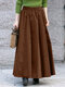 Solid Color Elastic Waist Pleated Long Casual Skirt for Women - Brown