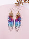 Vintage S925 Sterling Silver Butterfly Long Cicada Wings Gradient Earrings - 24