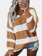 Contrast Color Striped Print Long Sleeves Sweater for Women - Khaki