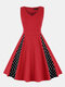 Dot Print Patchwork Sleeveless Plus Size Casual Dress - Red