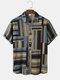 Mens Striped Color Block Lapel Short Sleeve Regular Hem Shirt - Khaki