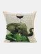 Animal Head Wine Glass Pattern Linen Cushion Cover Home Sofa Art Decor Throw Pillowcase - #01