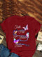 Butterflies Print O-neck Plus Size T-shirt for Women - Wine Red