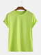 Mens Basic Cotton Solid Color Round Neck T-shirt - Light Green