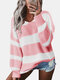 Contrast Color Striped Print Long Sleeves Sweater for Women - Pink