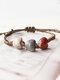 Vintage Ethnic Geometric-shape Beaded Braided Ceramics Wax Rope Bracelets - #09